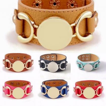 Monogrammed Leather Cuff Bracelet
