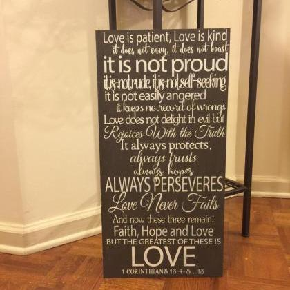 Love is patient 12x24 hand painted ..