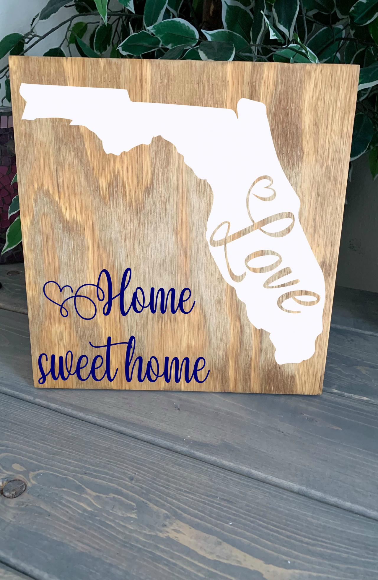 Home state. Home sweet home 12x12 Hand painted wood sign. Home decor. Choice of state.