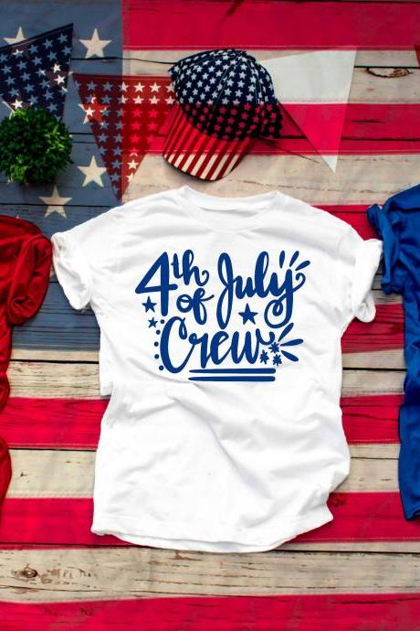 4th of July Crew.Family shirts.Independence Day. 4th July shirt.Red White and Blue.July4th.Crew Shirts. Independence Day. Free shipping.