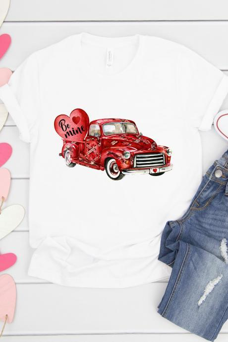 Valentines Old red truck. Be Mine. Valentines Day Raglan. Sublimation. Next Level. Valentines Day Tee. love. Be my Valentine