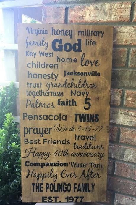 Memory lane. Custom hand painted 12x24 wood sign/ anniversary gift/ wedding/ retirement/ birthday