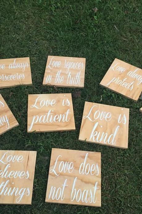 Corinthians Love is patient 10 piece 12x12 hand painted wood aisle set.