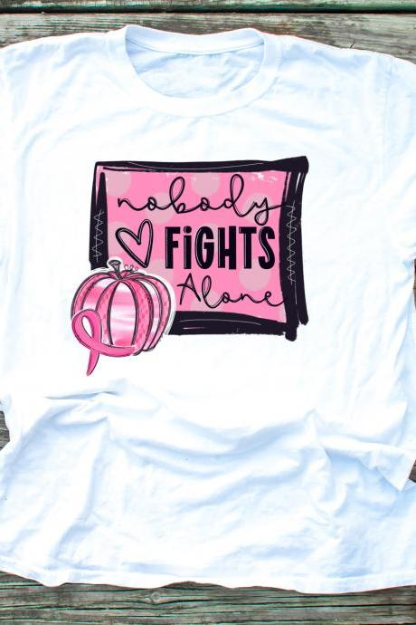 Nobody fights alone. In October we wear Pink..October.Pink Pumpkins.Unisex.Raglan.Sublimation.Support Breast Cancer.Awareness