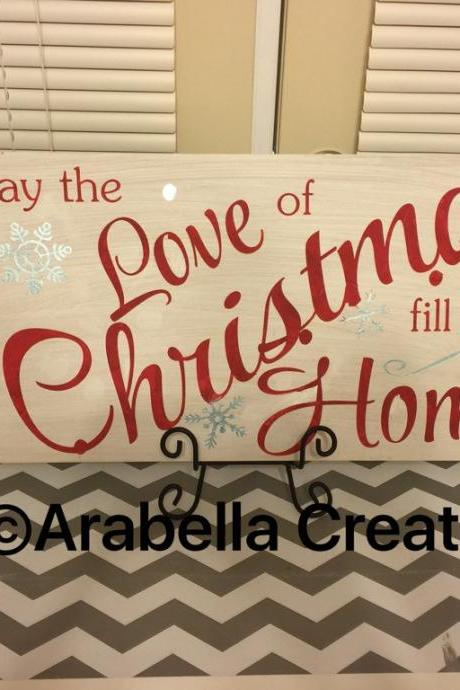 Love of Christmas hand painted wood sign