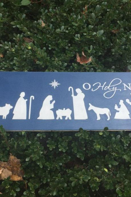O Holy Night hand painted wood sign