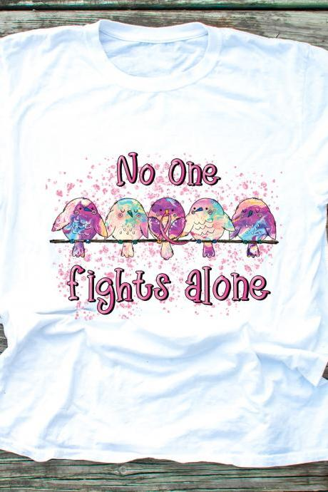 No one fights alone. Breast Cancer Awareness. Wear Pink. October. In October we wear pink.Unisex.Raglan. Sublimation.Support Breast Cancer