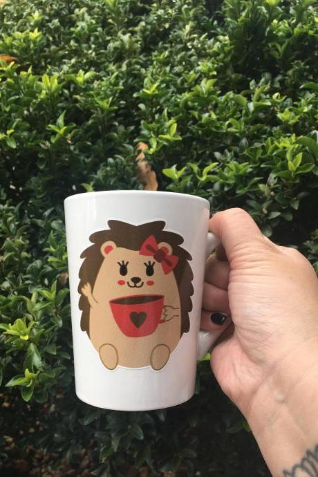 Valentines Hedgehog girl coffee/tea mug