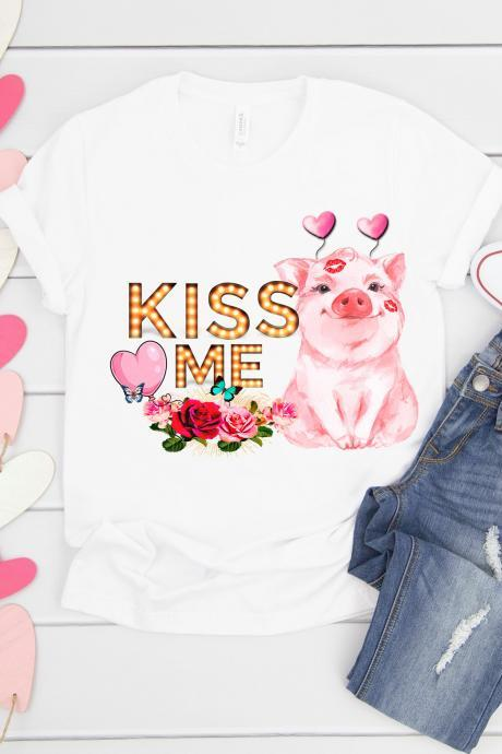 Valentines Pig. Kiss me.Valentines Day Raglan. Love pig. Sublimation. Next Level. Valentines Day Tee. love