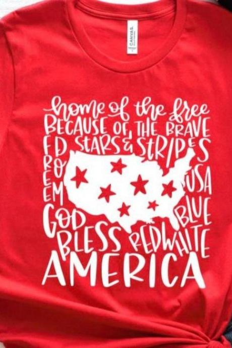 God bless America. Independence Day. 4th July shirt. Red White and Blue. July4th.Land of the free. Free shipping