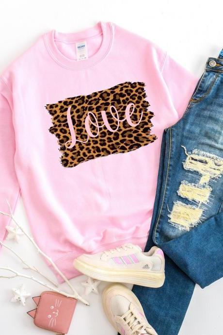Love. Leopard love. Valentine's Ladies sweatshirt. Ladies spring fashion. Free shipping. Valentine's Day.