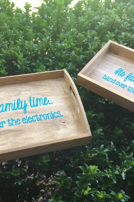 Family time electronics hand painted wood box. Its family time hand over the electronics. 2 sizes/ options. Lake time.