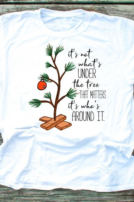 It's not what's under the tree that matters, it's what's around it shirt . Charlie Brown Christmas tee. Raglan. Sublimation