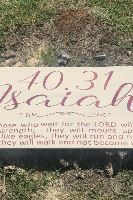 Isaiah 40:31 12x24 hand painted wood sign