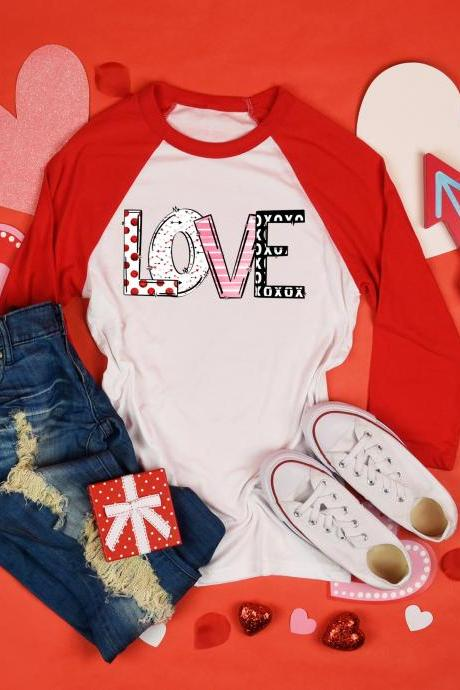 Love. Valentines Day Raglan. Sublimation. Next Level. Valentines Day Tee. love