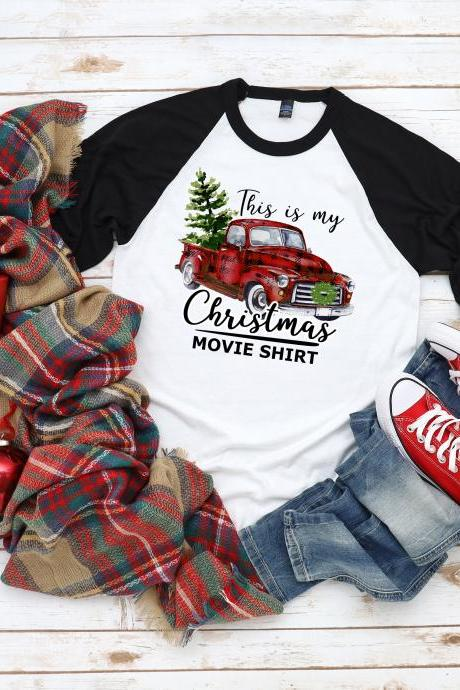 This is my Christmas Movie Watching Shirt. Christmas tee. Raglan. Sublimation.Next Level. Christmas Movies