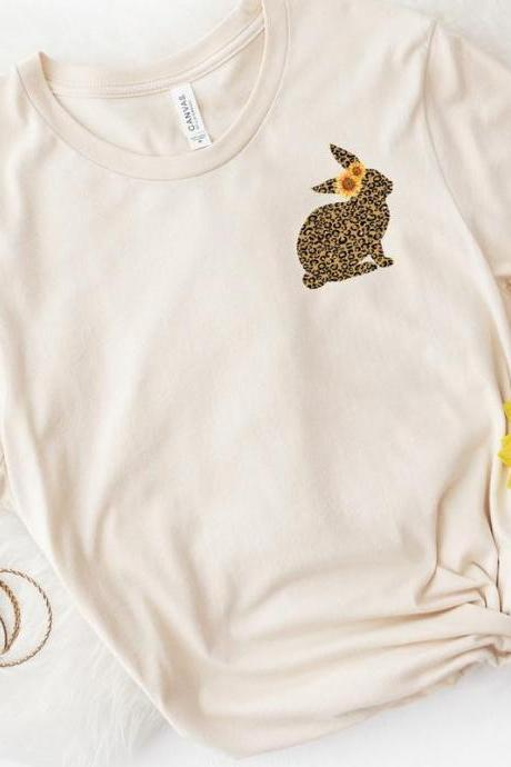 Leopard bunny pocket tee. Easter tee. Sunflower. Spring Ladies tee. Screen print. Gift For Her. Bella Canvas.