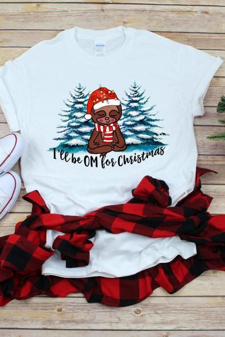 Ill be OM for Christmas. Yoga Christmas tee. Raglan. Sublimation. Next level. Om.