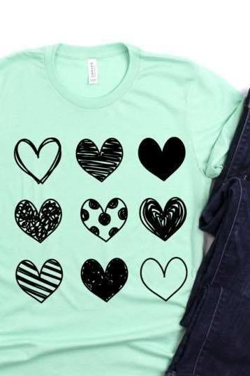 Hearts outline shirt. Valentines Day Graphic Tees- Bella Canvas. Screen print. Love is. Be kind. Valentines day Tee. Hearts