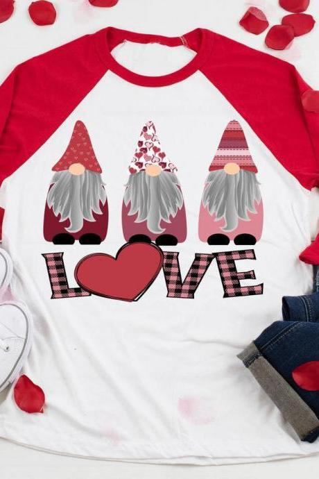 Gnomes LOVE. Valentines Day Raglan. Sublimation. Next Level. Valentines Day Tee. love. Gnomes Valentines. Gnomes Love.Youth