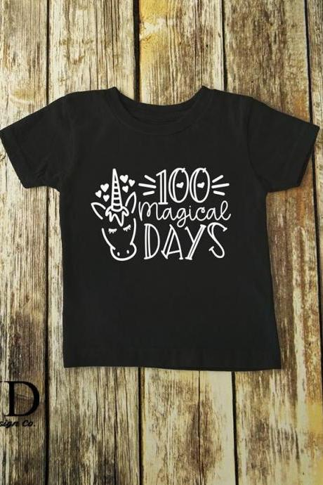 100 magical days. Unicorn 100th day of school shirt. 100th day of school. Screen Print.