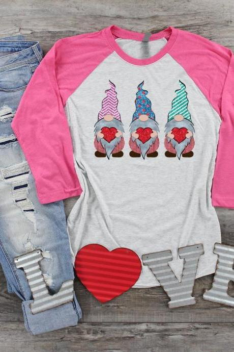 Gnomes and Hearts. Love. Valentines Day Raglan. Sublimation. Next Level. Valentines Day Tee. love. Gnomes Valentines. Gnomes Love.Striped