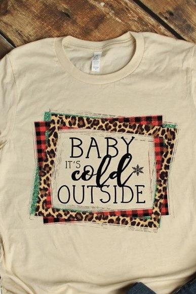 Baby it's cold outside shirt .Cheetah print . Buffalo Plaid .Christmas Shirt. Ladies Holiday Tee.Merry Christmas Shirt .Bella Canvas.