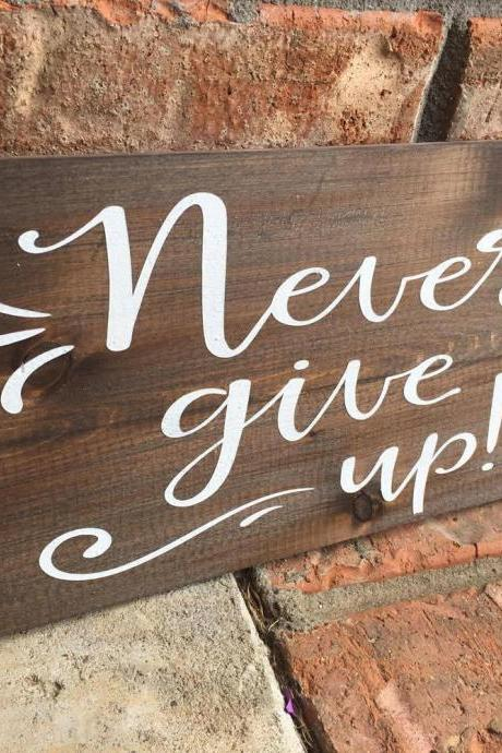 12x5 stained 'Never give up' Hand painted wood sign