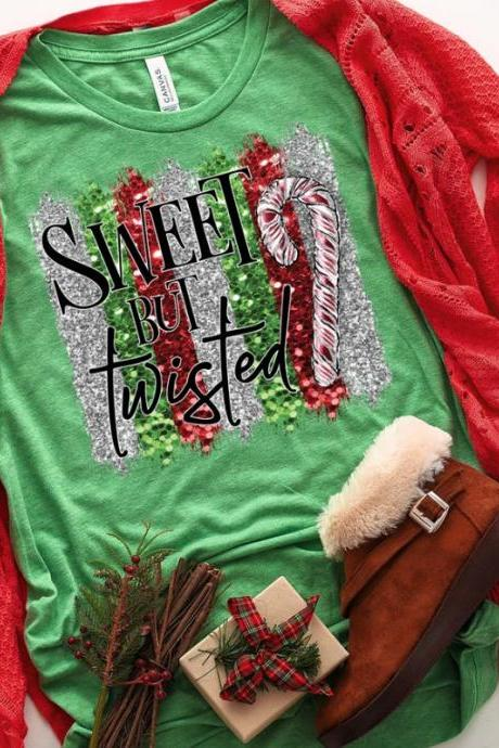 Sweet but twisted shirt. Holiday Shirt. Screen Print. Graphic Tees. Next level. Bella Canvas.Christmas Tee.Candy canes.
