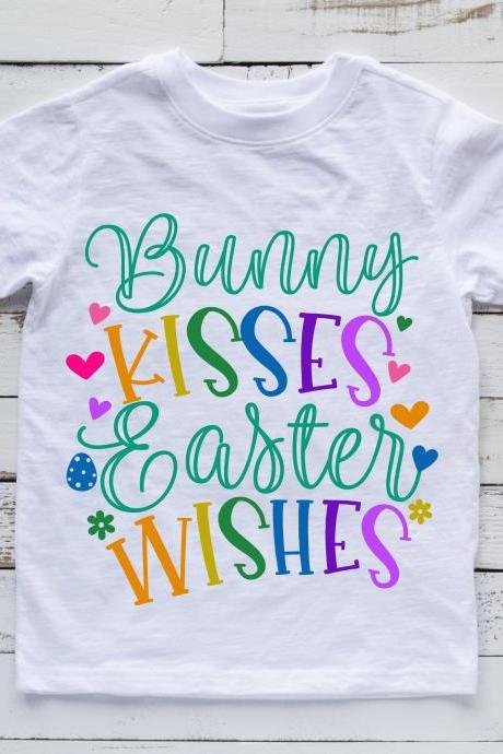 Bunny Kisses. Easter Wishes. Kids Easter shirt. Easter fashion.