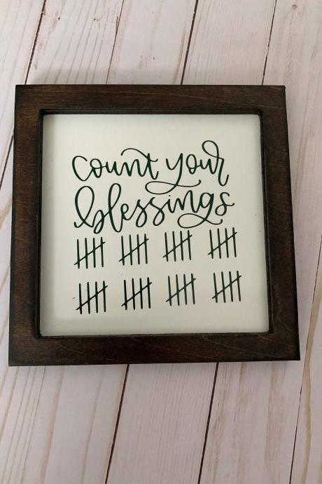 Count Your Blessings 8x8 Framed Sign, Farmhouse Blessings Sign, Farmhouse Decor, Blessings. Framed wood.