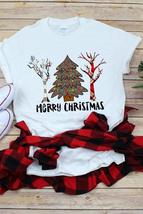 Christmas Tree Christmas shirt. Christmas tee. Cheetah print. Raglan. Sublimation. Next level- Buffalo Plaid