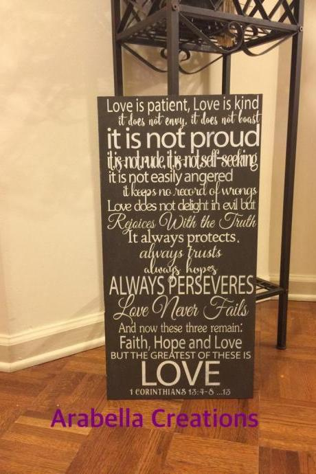 Love is patient 12x24 hand painted wood sign