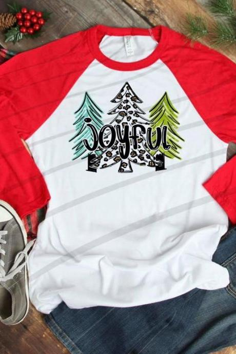 Joyful shirt. Joyful Holiday Shirt. Screen Print. Graphic Tees. Christmas Tres Next level. Bella Canvas. Christmas tee
