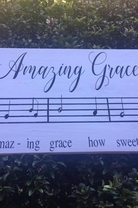 Amazing Grace Music Sheet 12x24 hand painted wood sign