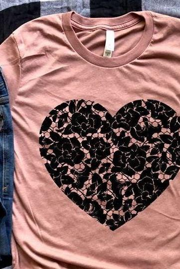 Vintage lace heart shirt. Valentines Day Graphic Tees- Bella Canvas. Screen print. Love is. Be kind. Valentines day Tee