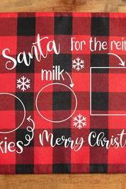 Custom placemat for Santa. Buffalo Plaid Santa Placemat. Screen Print. Washable polyester. Personalized gift.