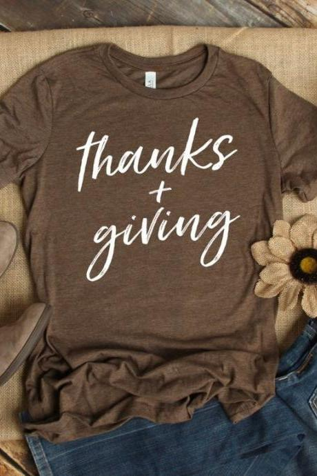 Thanks and Giving shirt- Gobble Shirt - Thanksgiving T-shirt - Give thanks Shirt - Fall Graphic Tees. Bella Canvas