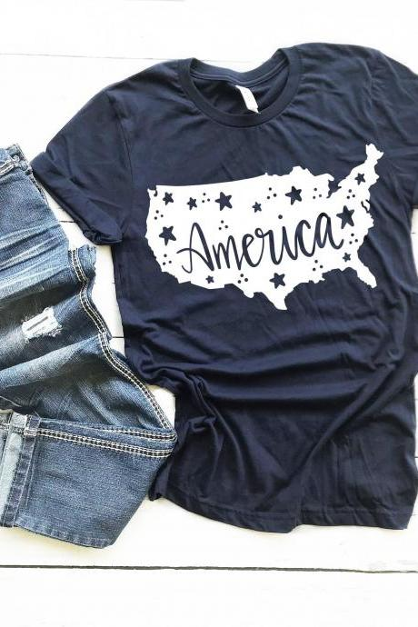 America.Summer shirts.Independence Day. 4th July shirt. Red White and Blue. July4th. Independence Day. Free shipping