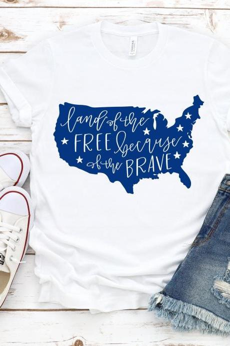 Land of the free. Summer shirts.Independence Day. 4th July shirt. Red White and Blue. July4th. Independence Day. Free shipping