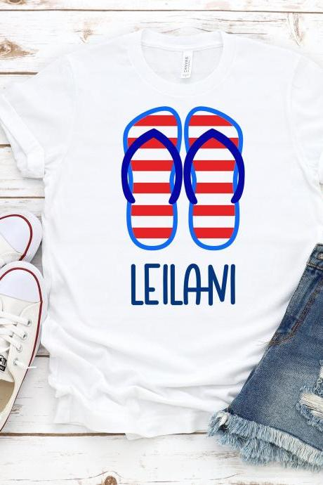 Personalized flip flops. Summer shirts.Independence Day. 4th July shirt. Red White and Blue. July4th. Independence Day. Free shipping